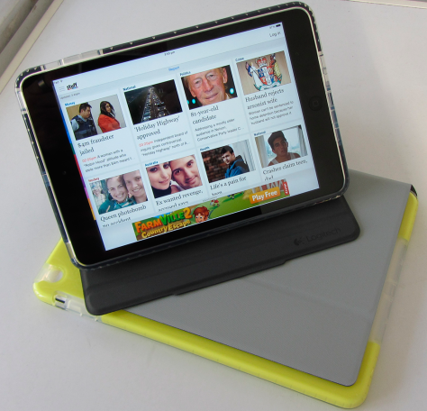 The Logitech Big Bang case for iPad mini on top of that for the Air