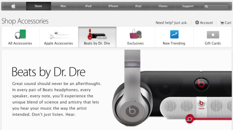 Beats by Dr Dré now has its own section on the Apple Store online