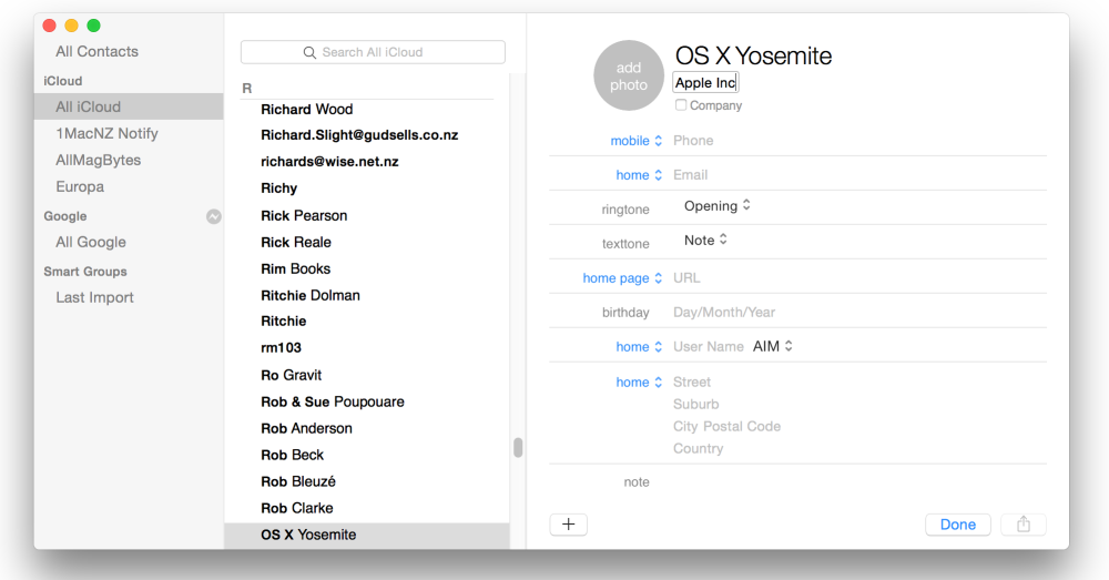 OS X Yosemite public beta 2, Keynote 6.2.2, Mavericks Setup Assistant, Volume Purchase Program, Contacts in OS X Mavericks