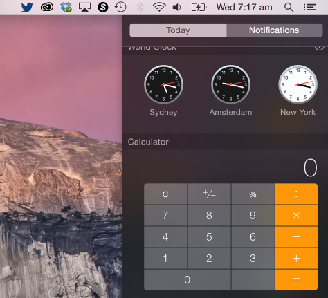Yosemite's Widgets move to Notifications