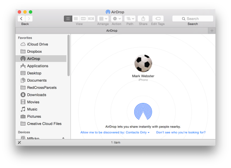 AirDrop iDevice to Mac once you have Yosemite