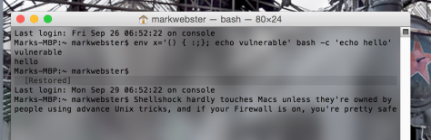 Most Macs won't even remotely be touched by the Shellshocked 'bash bug', particularly if their Firewalls are on.