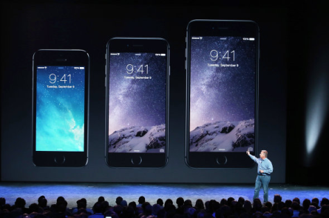 Apple's two new iPhone 6 sizes compared to iPhone 5 on the left