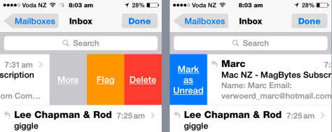 Mail has new Swipe options in iOS 8