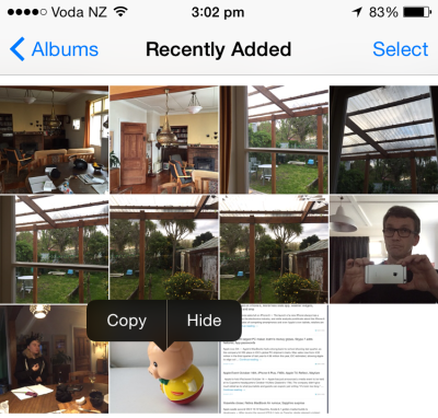 iOS 8 lets you hide photos in the Photos app