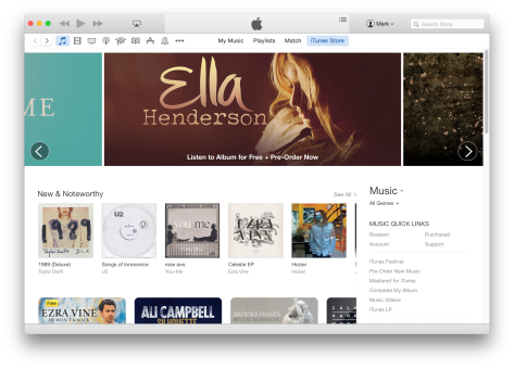 The new iTunes user interface mirrors Apple's initial iTunes 12 beta, which itself draws inspiration from a spartan aesthetic first introduced in iOS 7.