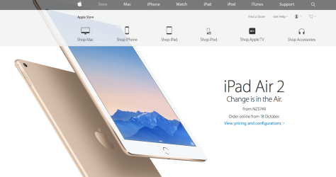From NZ$749, the new iPad Air is thinner and faster (picture from Apple Inc's Air site).