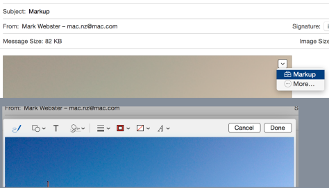 With Yosemite you can mark up attached images and PDFs directly in Mail message windows. You need to know where the activator is (top) and when you choose Markup, you get these tools (bottom)