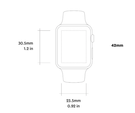 Actual sizes of Apple Watch in a PDF