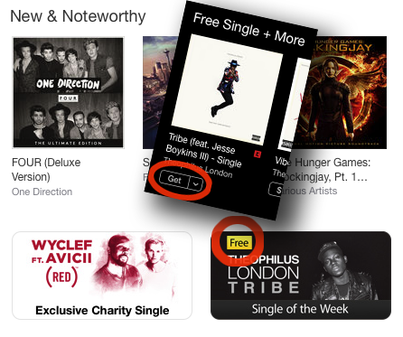 The 'free' button now says 'Get' – but do remember to check on the front page of the iTunes Store weekly to see what you think of the free song