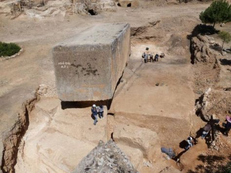 German scientists discovered a huge cut stone block in Baalbek. It's 19.6 meters long by 6 wide, and is at least 5.5 high with a weight estimated at 1650 tons!