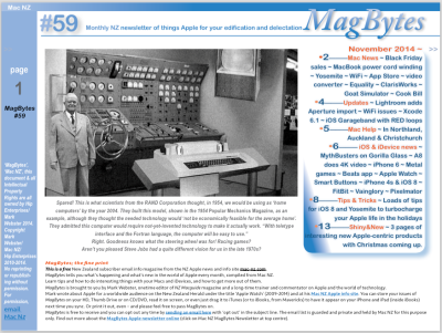 The cover of MagBytes has a picture of Rands 1954 vision of the Home Computer for 2004.
