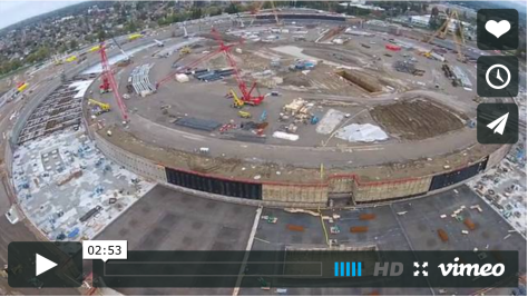 AppleInsider drone shows the Spaceship construction progress