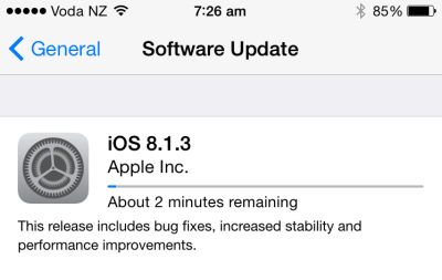 iOS 8.1.3 is out and requires less room to download into.