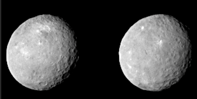 These two images, captured by NASA's Dawn spacecraft  from just over 80,467 kms away lets us see some of the geographic details of the dwarf planet.