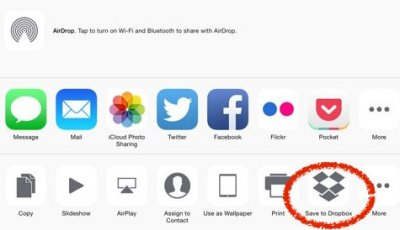 After updating, Dropbox can be added to iOS's sharing options by sharing a file