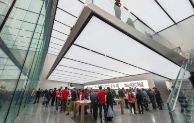 Apple's latest Store in China structure is cantilevered and appears to be floating in mid-air