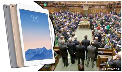 All 650 members of the British parliament will get iPad Air 2 and MacBook Airs after the election (picture from the Daily Express).