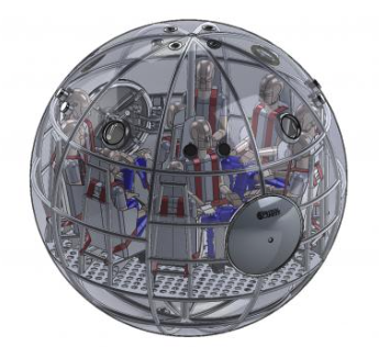 Survival ball can hold from two to ten people, depending on the model, and are made from aircraft-grade aluminum in a monocoque structure