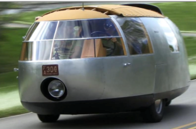 A museum-quality copy of Dymaxion #1, one of three vehicles designed by Fuller