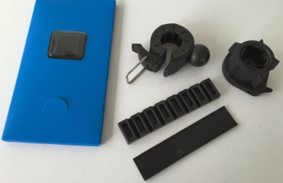 What comes with the bike mount – in the blue package is the stick-on attachment plate for the back of your iPhone.
