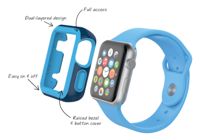 The Speck CandyShell FIT protects the watch from impacts while the silicone softens the blow.
