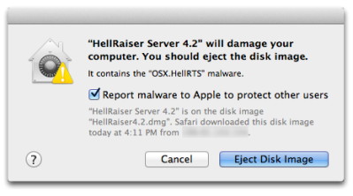 OS X has built-in malware detection