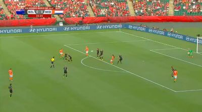 Netherlands humbling the NW Women's Soccer team with a devastating shot