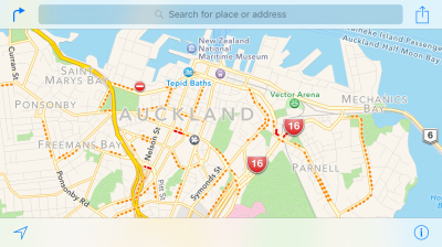 Auckland at 7:30 this morning. Every dotted red line is a traffic problem ...