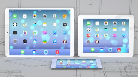 A 12.9-inch iPad would be considerably bigger (image mockup from MacRumors).