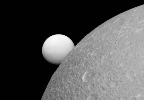 Saturn's moons are largely ice – these were photographed by the space probe Cassini