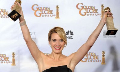 Kate Winslet with her award (Image: The Guardian)