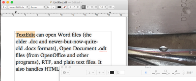 TextEdit can open Word files (the older .doc and newer-but-now-quite-old .docx formats), Open Document .odt files (from OpenOffice and other programs), RTF, and plain text files. It also handles HTML