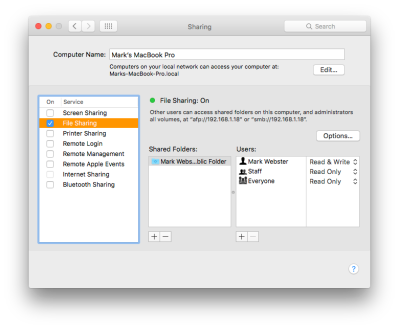 On your Macs, check File Sharing in System Preferences