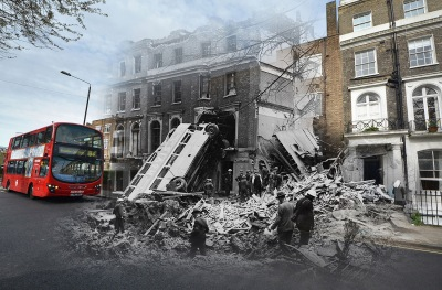 In this digital composite image a comparison has been made between a London scene during the Blitz of 1940-1941 and present day, to remember the 75th anniversary of the end of the Blitz in London on May 11, 2016.  *** FILE PHOTO (#108634022) - A bus is left leaning against the side of a terrace in Harrington Square, Mornington Crescent, in the aftermath of a German bombing raid on London in the first days of the Blitz, 9th September 1940. The bus was empty at the time, but eleven people were killed in the houses. (Photo by H. F. Davis/Topical Press Agency/Hulton Archive/Getty Images)  *** (#528814632) LONDON, ENGLAND - APRIL 21:  A view of modern social housing near Mornington Crescent on April 21, 2016 in London, England. The Blitz aerial bombing offensive lasted for eight months during the early stages of the Second World War, including 57 consecutive nights of raids on the city of London. On the evening of Saturday May 10, 1941 the Luftwaffe mounted its last major bombing raid of the Blitz on London, known as 'The Longest Night', bringing to an end a deadly campaign that killed over 20,000 people in the capitol, left another 1.5 million Londoners homeless and changed the London landscape more than at any time since the Great Fire of 1666. The British fortitude and defiance amidst such chaos gave rise to the term 'Blitz spirit'.  (Photo by Jim Dyson/Getty Images)