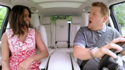 First Lady Michelle Obama joins James Cordon for Carpool Karaoke, which will become an iTunes Music exclusive series.