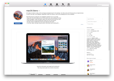 macOS 10.12 'Sierra' is here.