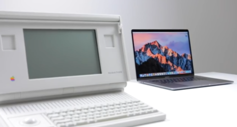 (Image from a Mac Observer video showing the 1989 Macintosh Portable up against the Late 2016 MacBook Pro)